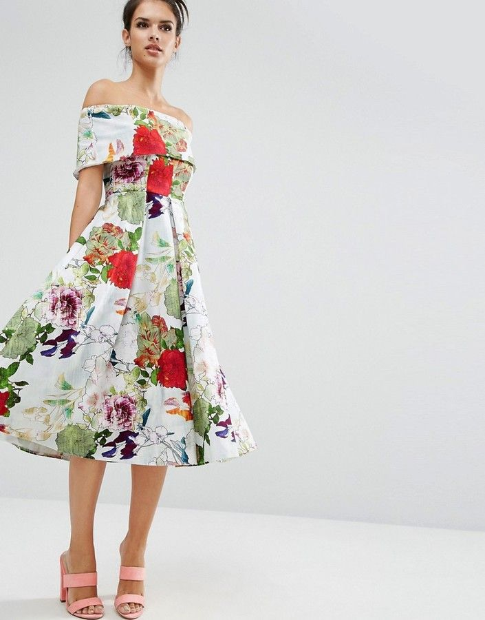 ASOS Premium Off The Shoulder Bardot Midi Prom Dress In Garden Floral