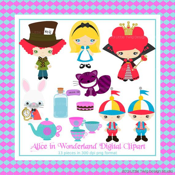 Alice in Wonderland Digital clip Art Clipart Collection- Personal and Small Commercial Use