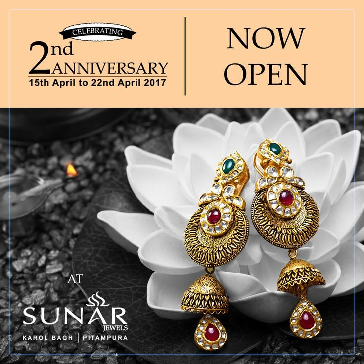 Sunar Jewels Celebrating Its 2nd Anniversary, Come Enjoy Lowest Gold Rates Rs. 99/- Per gm. Making Charges On All Jewellery, 54% Discount On Diamond Prices Starting From 9990/- Per Ct. Enjoy Addl. Discount of 1.8% On Purchase Worth 1.80L-3.60L,2.7% On Purchase Worth 3.60L-5.40L & 3.7% On 5.40L & Above On Purchase Of Any Jewelry #NowOpen #2ndAnniversarySpecial #NewCollectionArrived #Sunar #SunarJewelsIndia #goldrate