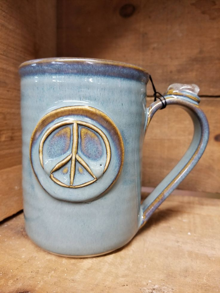 Clear Quartz Handmade Mug with Healing Crystal ~ healing stone pottery ~ peace sign mug by CrystalCavernImports on Etsy