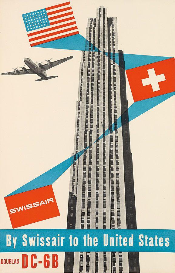 Henri Ott, Swissair / By Swissair To The United States / Douglas, circa 1952. -- collage