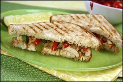 Philly-style chicken melt   288 calories, 5.5g fat, 897mg sodium, 27g carbs, 6g fiber, 6g sugars, 35g protein --