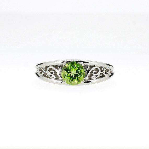 Peridot engagement ring filigree white gold by TorkkeliJewellery