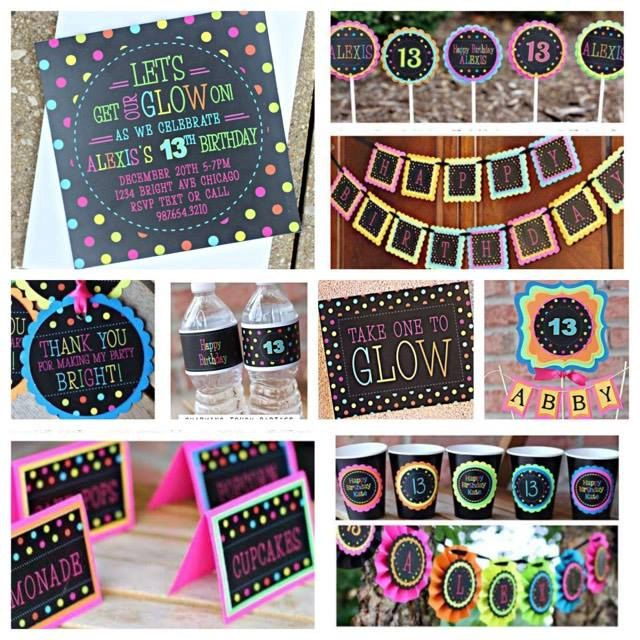 Girl Neon Birthday Party Decorations.  10 piece party decoration box.   Neon/ Tween / Teen / Glow party decor. by CharmingTouchParties on Etsy