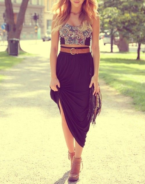 Sexy boho outfit. Tribal embroidered midriff top + maxi + Navajo tassel cross body + tan ankle boots + belt.
