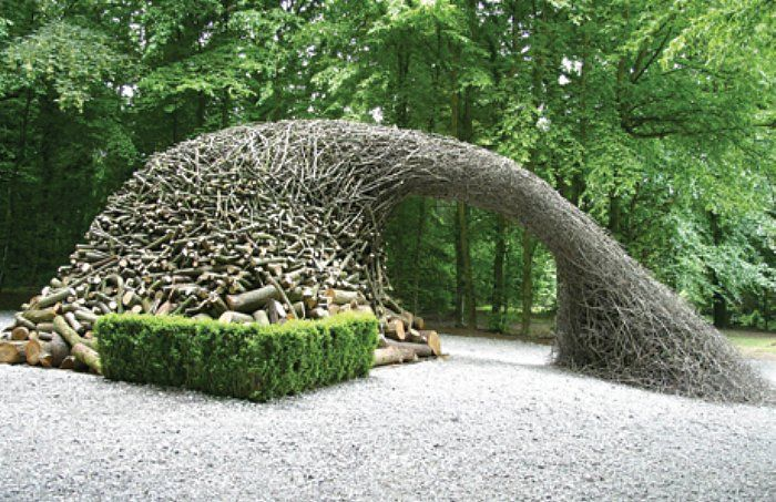 Patrick Dougherty uses locally grown branches and often recruits locals to help complete his works. www.stickwork.net