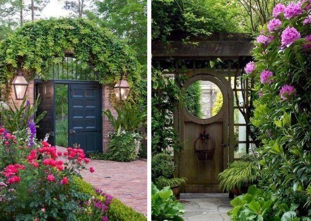 portail en bois noir et portillon de jardin en bois de style rustique