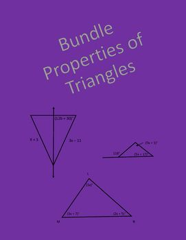 Geometry bundle of worksheets over properties of triangles covering classifying triangles by sides and angles, exterior angles of triangles, perpendicular bisectors, angle bisectors, altitudes, and medians.