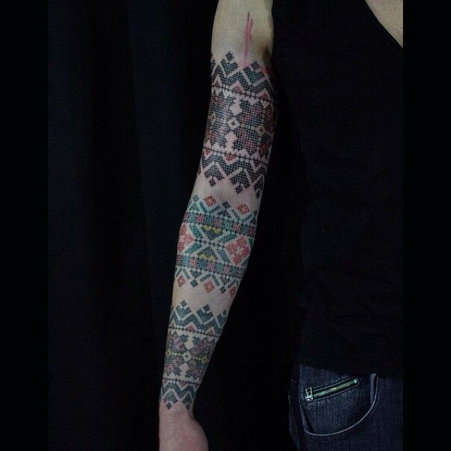 Knitting Tattoo Sleeve : Best images about cross stitch tattoos on pinterest