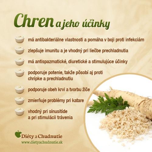 Infografika - chren a jeho účinky. Viac o zdravotných výhodách konzumácie chrenu sa dočítate v tomto článku http://www.dietyachudnutie.sk/stravovanie/zdravotne-vyhody-konzumacie-chrenu/