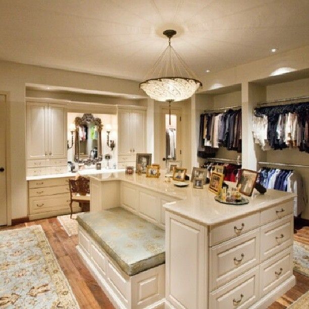 ideal closet. purchase a home with an extra bedroom, attach it to the master through the bathroom and turn the room into your dream his and hers closet
