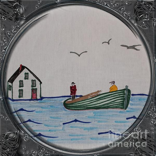 Newfoundland Resettlement - Porthole Vignette by Barbara Griffin. This vintage Newfoundland moving scene is a drawing on fabric of a wooden boat towing a house across the water. This was the best and only way to move your home when the government of the day decided on resettlement from smaller communities