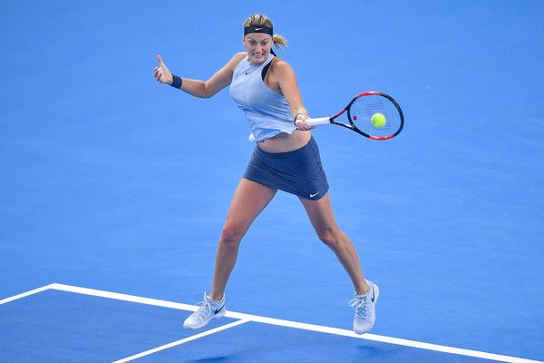 Petra Kvitova Photos - Petra Kvitova of the Czech Republic returns a shot during her Women's Singles Semifinal match against Caroline Garcia of France on day eight of 2017 China Open at the China National Tennis Centre on October 7, 2017 in Beijing, China. - Petra Kvitova Photos - 7 of 5101