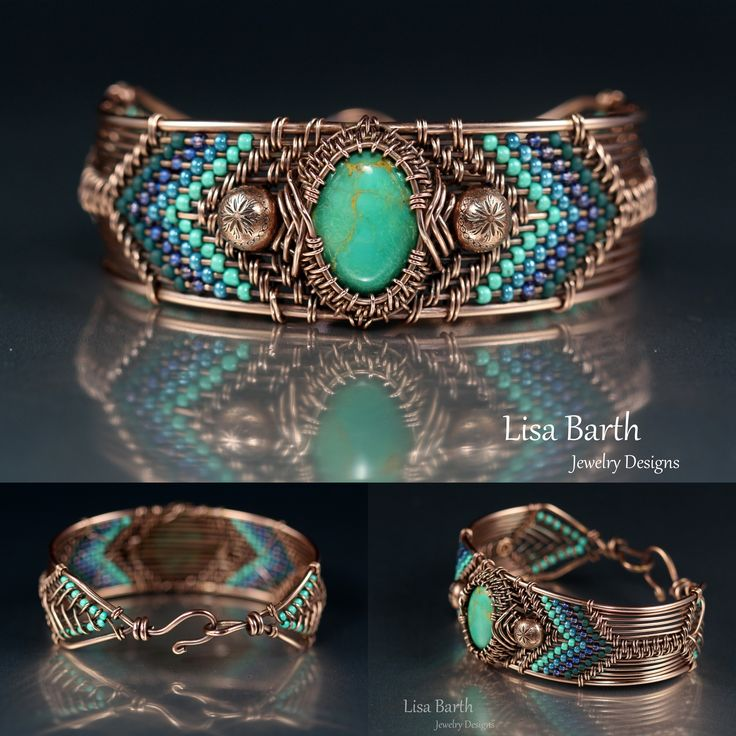 Hand woven bracelet in copper and turquoise.  If you'd like to learn how to wire weave, here is the link to the book that teaches how:  http://www.amazon.com/Timeless-Wire-Weaving-Complete-Course/dp/1627000763/ref=sr_1_1?ie=UTF8&qid=1407288793&sr=8-1&keywords=timeless+wirework