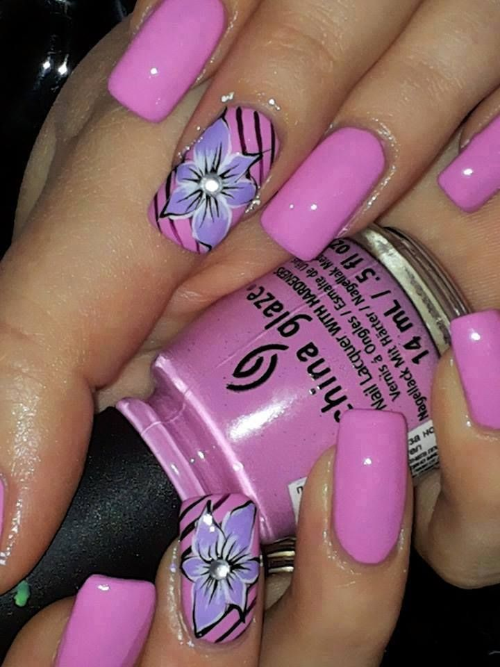 Pink With Purple Flower Nails