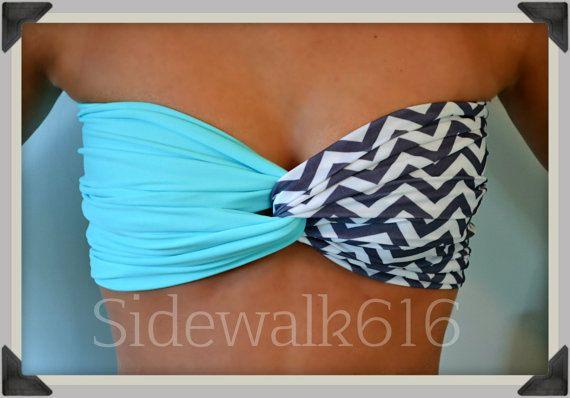 Mint Chevron Bandeau Top Spandex Bandeau Bikini by Sidewalk616