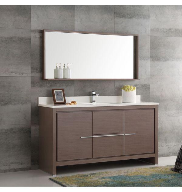 Fresca Allier 60 In Gray Oak Modern Single Sink Bathroom Vanity With Mirror Bathroom Vanity Modern Bathroom Vanity Single Sink Bathroom Vanity