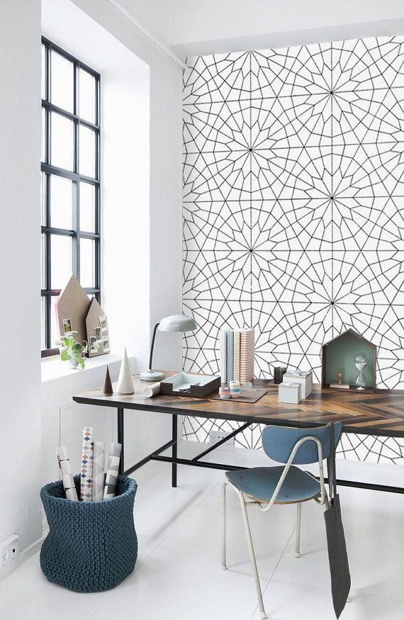 Geometric Flower Pattern Self Adhesive Vinyl Wallpaper - Z011 on Etsy, $34.00
