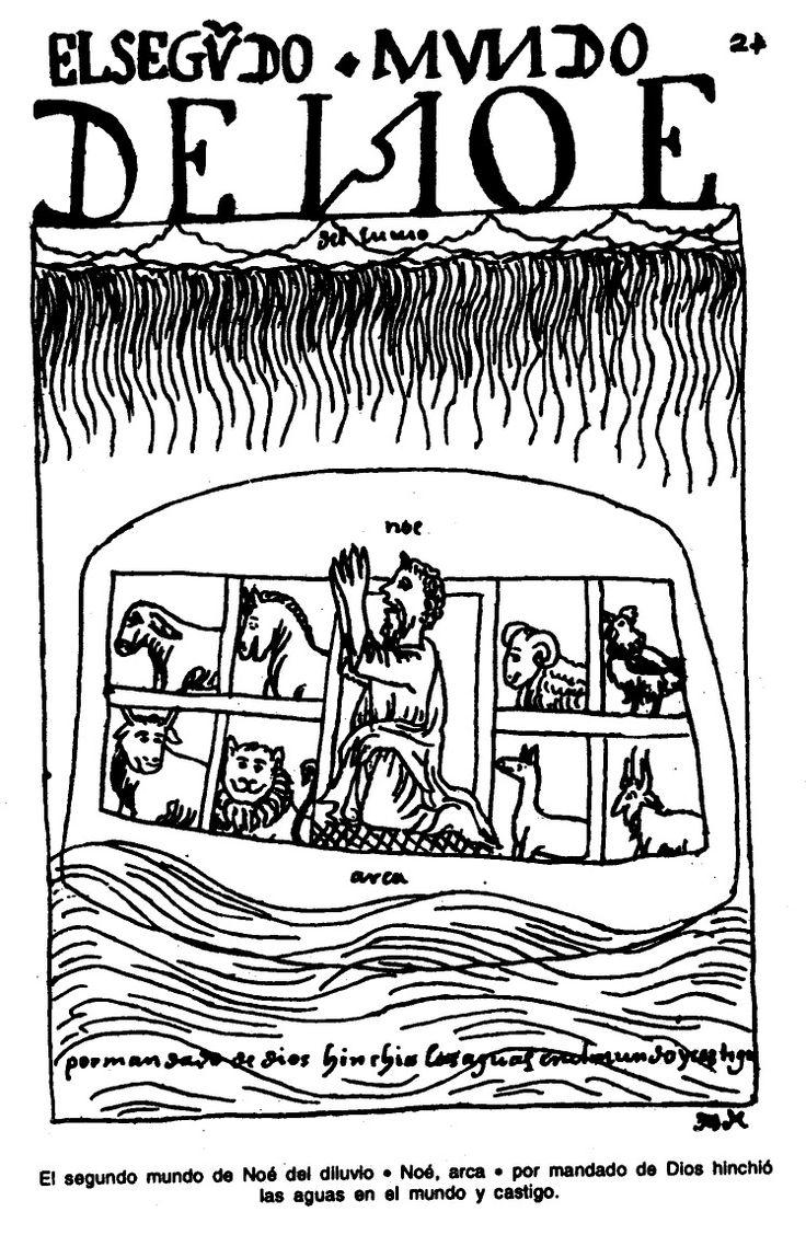 El segundo mundo de Noé de diluvio. Noé, arca. Por mandado de Dios hinchió las aguas en el mundo y castigo.