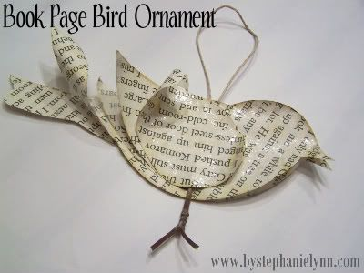 Book page bird ornament @morglethorpe