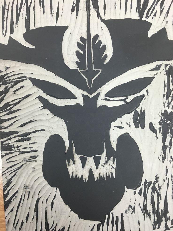 "Wood block print ""Demon"" Sung"