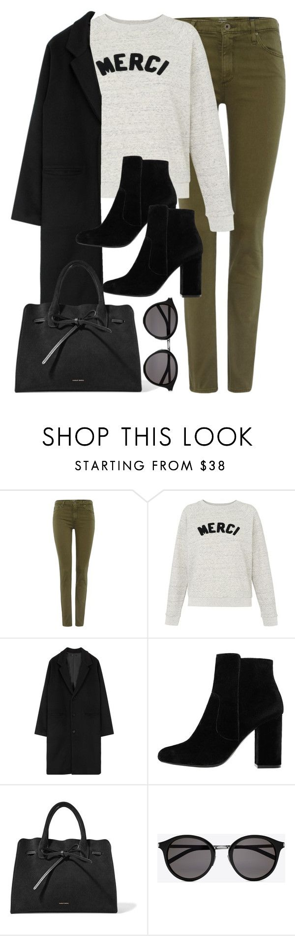"""""""Untitled #3008"""" by theaverageauburn on Polyvore featuring AG Adriano Goldschmied, Whistles, MANGO, Mansur Gavriel and Yves Saint Laurent"""