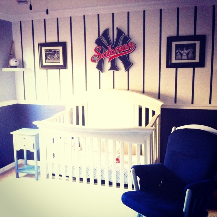New York Yankees Nursery for baby boy, would do it a little differently