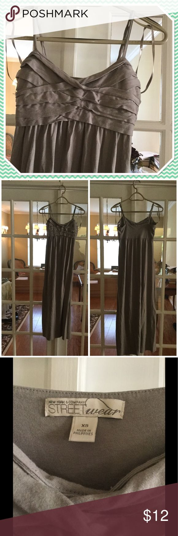 Grey Maxi Dress Gently Used light grey Maxi Dress. Machine wash cold. Tumble dry low - cool iron if needed. 60% Cotton & 40% Modal. For all reasonable offers, please use offer option. New York & Company Dresses Maxi