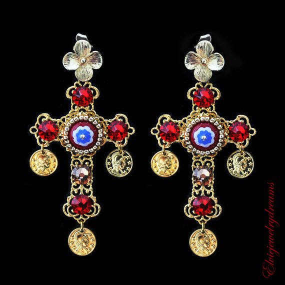 Chandelier earrings, Red Cross Swarovski Earrings, Dolce Earrings, Byzantine Woman Earrings, coins earrings
