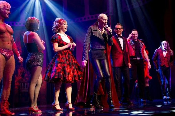 Richard O`Brien 21/01/2012.Rocky Horror Show 40th Anniversary Opening Night at The New Wimbledon Theatre.Here, Curtain Call - Rhydian, Roxanne Pallett, Richard OBrien and Ben Forster.
