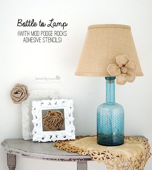 How to make a lamp from a bottle @savedbyloves with @modpodgerocks adhesive stencils @plaidcrafts. Master bedroom lamps
