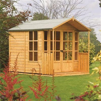7 x 10 arley summerhouse with veranda toughened glass double doors fsc timber shed cabingarden - Garden Sheds With Veranda
