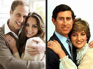 Prince William & Kate Middleton's engagement picture; Prince Charles & Princess Diana engagement picture.