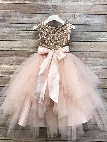 3a0a7c85b0a Gold Sequin Flower Girl Dresses Blush Pink Cute Baby Flower Girl Dresses