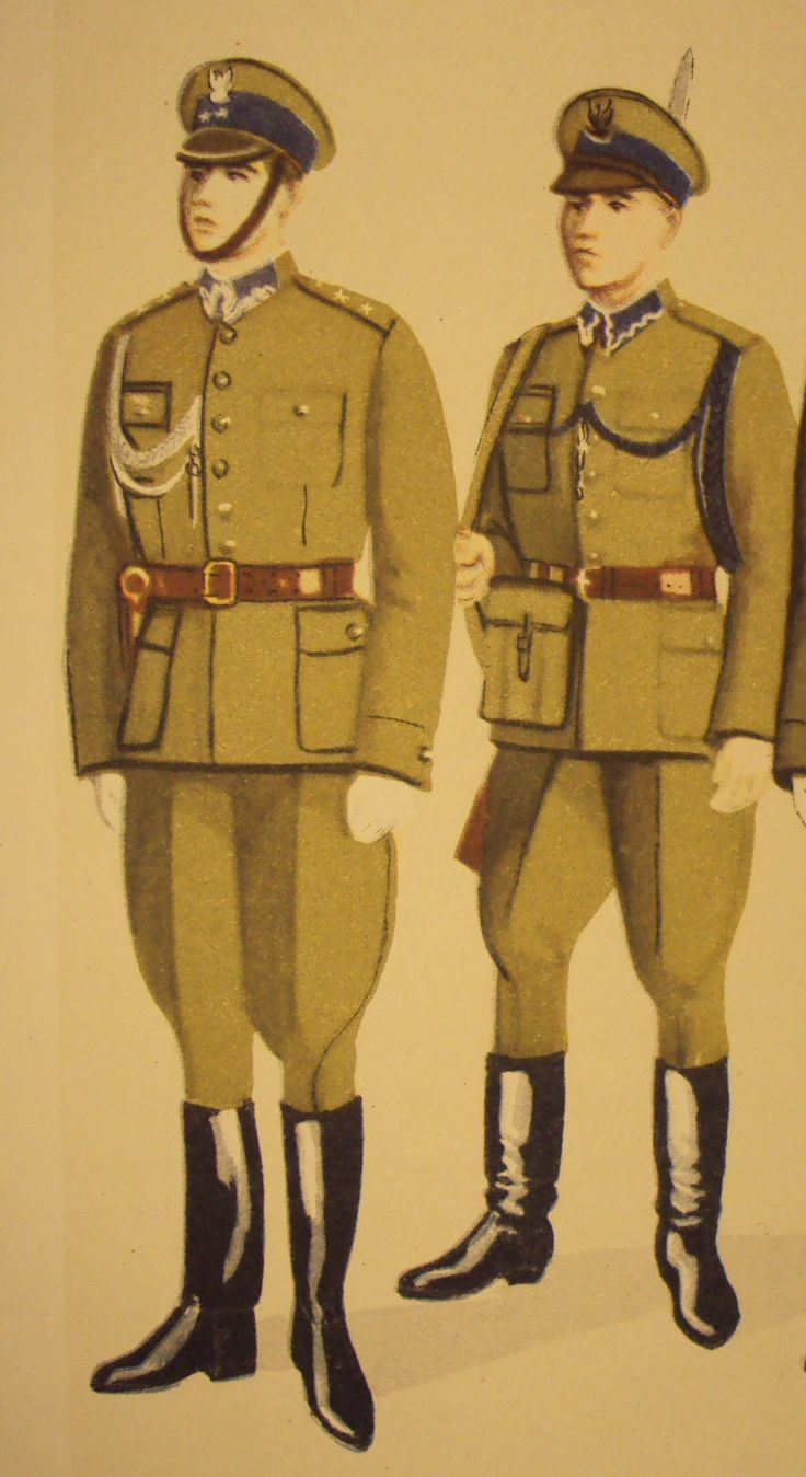 Letni mundur paradny oficerow i żołnierzy KBW latach 1945-1949 roku / Polish Internal Security Corps officers and soldiers' summer parade dress uniforms from 1945 to 1949.