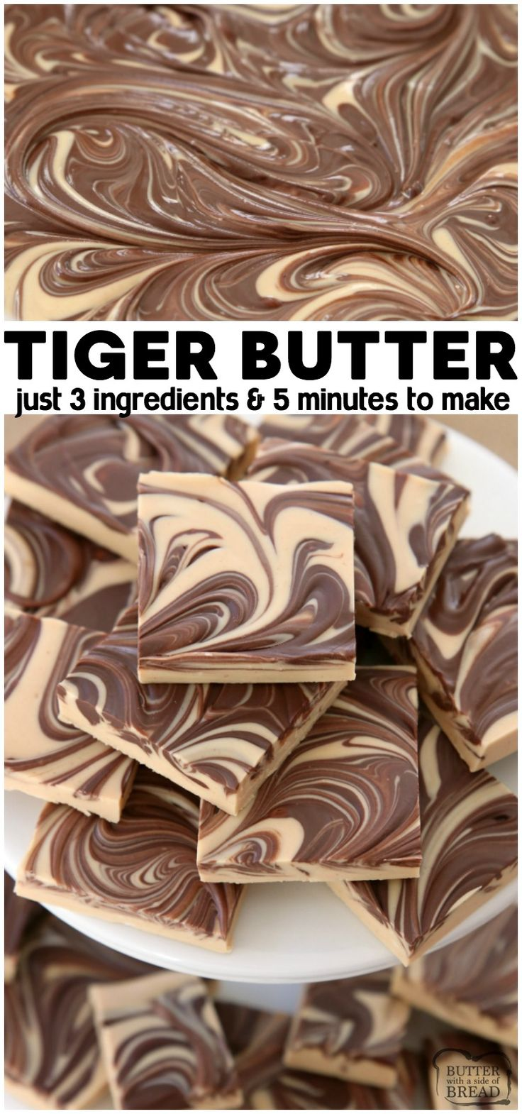 Tiger Butter made from 3 ingredients that are melted & swirled together in minut…