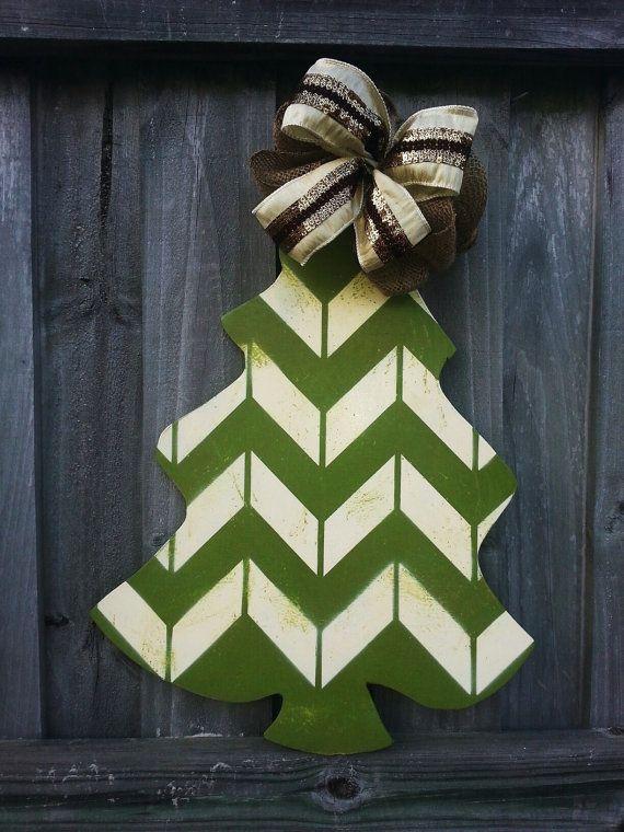 53 best Christmas Tree Door Hangers images on Pinterest  Wooden