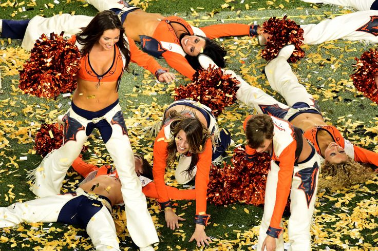 SANTA CLARA, CA - FEBRUARY 07:  Denver Broncos cheerleaders celebrate their win in Super Bowl 50 at Levi's Stadium on February 7, 2016 in Santa Clara, California. Description from ajc.com. I searched for this on bing.com/images