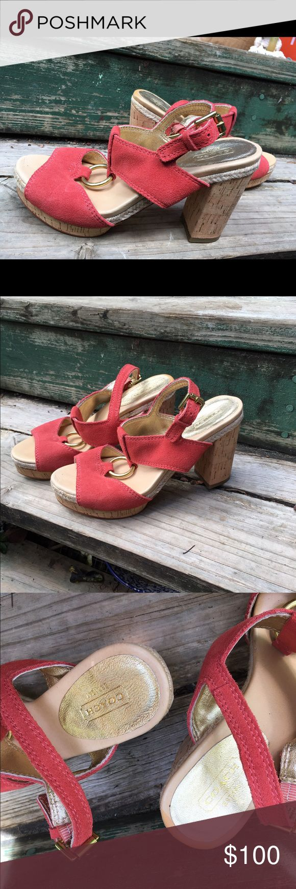 Coach ankle strap platforms Fun 70's inspired platforms with cork/espadrille  heel and O-ring detail. like new! Coach Shoes Sandals