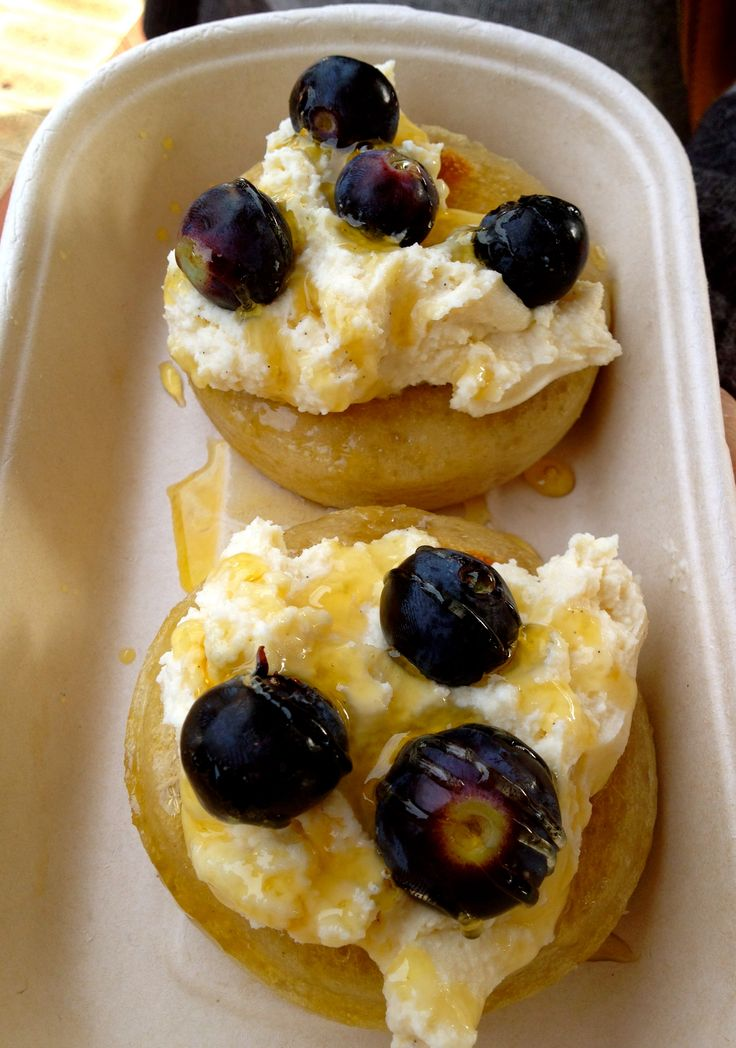 Ricotta, blueberry, honey organic crumpets from Mr Drummond's.
