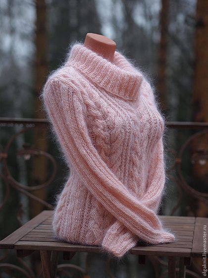 Pretty pink handmade wool sweater is simply amazing. Features extra warm mohair wool yarn to help retain body heat. Trendy and stylish. olgaknit.etsy.com or olgaknit.livemaster.ru