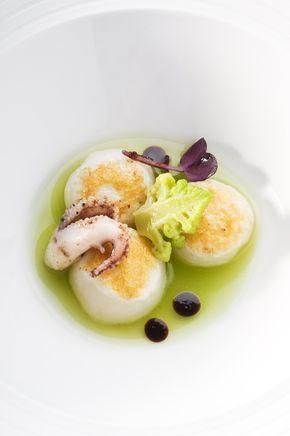 Gnocchi di seppia, centrifugato di broccolo, broccolo romanesco e olio alle olive taggiasche
