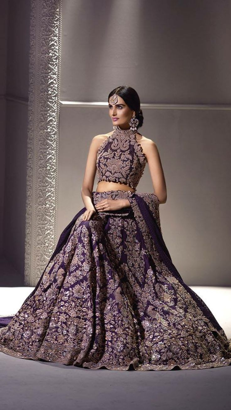 Purple lengha by Umar Sayeed