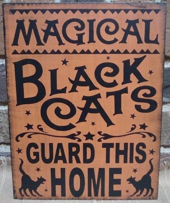 primitive witch sign magical black cats guard this home cat witches halloween decorations country witchcraft magic folk art painting plaques