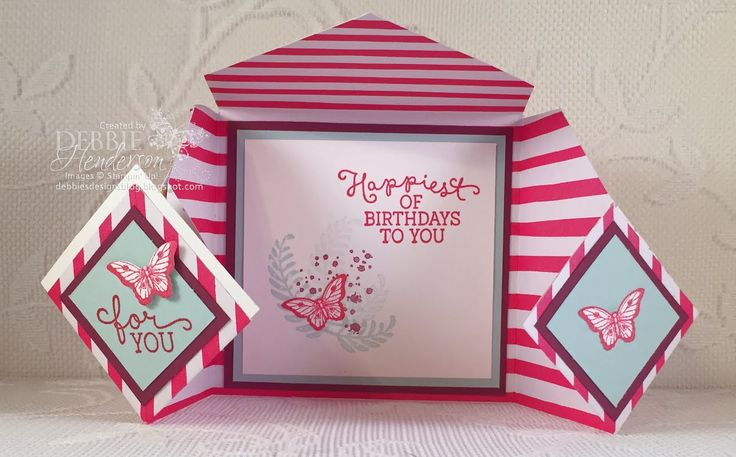 Diamond Fold Card Fold & new YouTube video using Stampin' Up! Papillon Potpourri & Awesomely Artistic stamp set. Also includes coordinating Gusset Gift Bag. Debbie Henderson, Debbie's Designs.