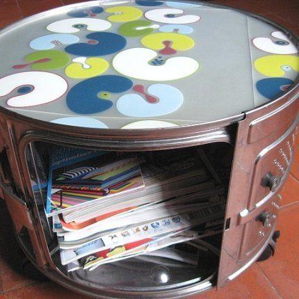 mesa con tambor de lavadora