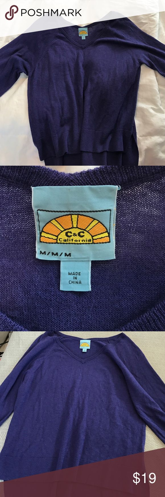 C&C California sweater Purple, worn less than 5 times, loose fit, super soft C&C California Sweaters V-Necks