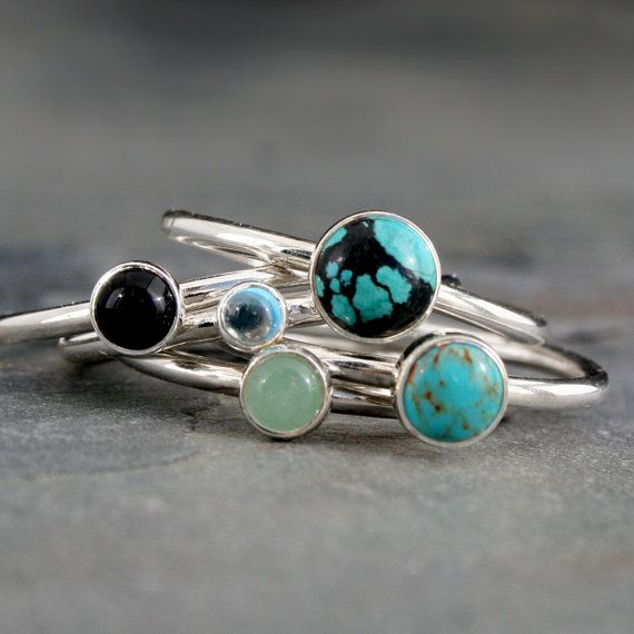 World Traveler Turquoise Stacking Rings Sterling Silver Set
