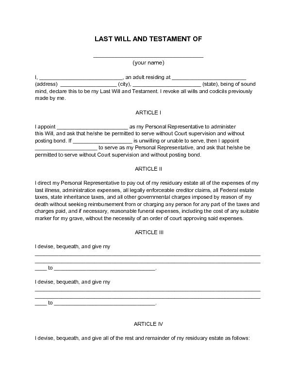 il forms for writing a will