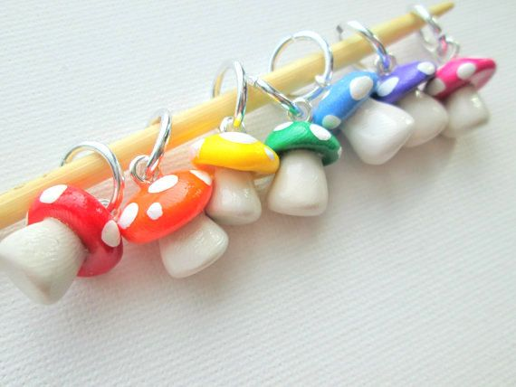 Hey, I found this really awesome Etsy listing at https://www.etsy.com/listing/119384814/rainbow-toadstool-stitch-markers-set-of